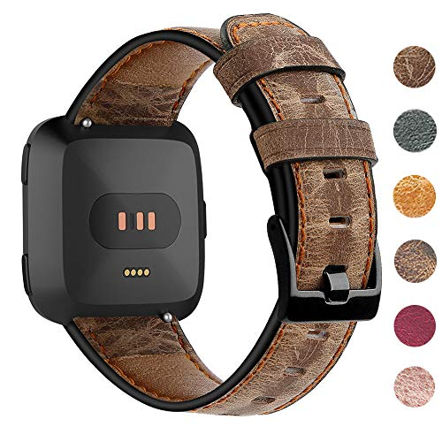 EZCO Leather Bands Compatible with Fitbit Versa/Versa Lite Bands, Vintage Genuine Leather Band Replacement Strap Wristband Accessories Man Women Compatible with Versa Smart Watch, Coffee Brown