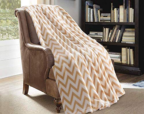 JML Throw Blanket for Couch - Super Soft Lightweighted Microfiber Fuzzy Flannel Blanket Throw for Shawls and Wraps Adults or Pet - Chevron Brown (Blanket Throw White And Orange)