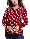 Zeagoo Women's Long Sleeve Casual Polka Dot Button Up Office Blouse Shirt Top,Red,Medium