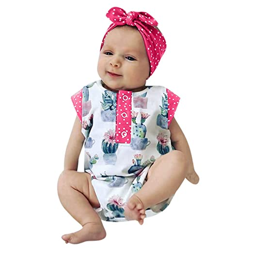 f3f73b8308c5 Newmao Toddler Girls Cactus Dot Printed Romper Headband Bodysuit Clothes  Outfits (0-6M