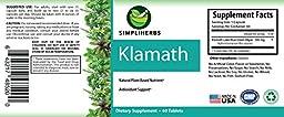 SimpliHerbs Pure Klamath (Blue Green Algae) 500mg Capsules -100% Klamath - No Additives, No Artificial Ingredients - USA Sourced At Lake Klamath Oregon - 60 Capsules