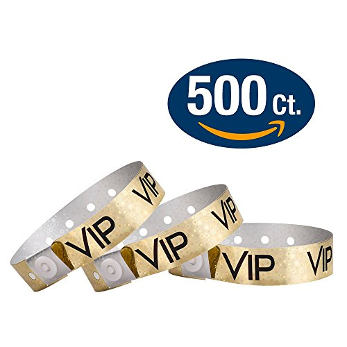 WristCo Holographic Gold VIP Plastic Wristbands - 500 Pack Wristbands For Events