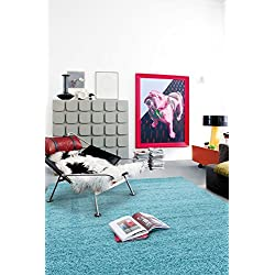 "Sweet Home Stores Cozy Shag Collection Turquoise Solid Shag Rug, 5'3"" X7', Blue"
