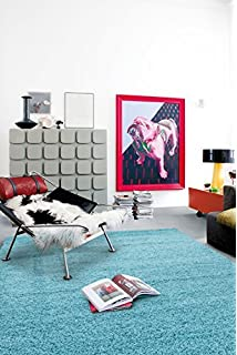 Sweet Home Stores Cozy Shag Collection Turquoise Solid Shag Rug, 5u00270 W X