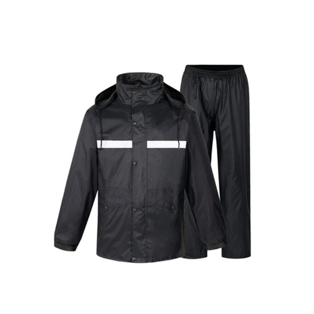 noir Split Suit X-grand DQMSB Haut imperméable, imperméable Long et épais, imperméable réutilisable pour Les Voyages en extérieur, la randonnée, Le Camping (Couleur   noir Long+Reflective Pants, Taille