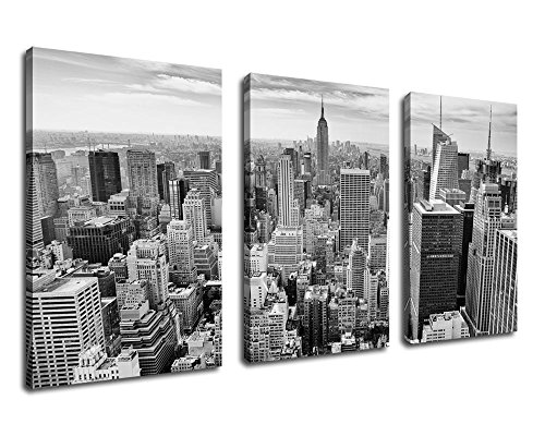 Wall Art Black And White Canvas Painting Empire State Building Large Framed Canvas Art New York City Skyline   20  X 30  3 Pieces Contemporary Picture Modern Artwork For Office Home Wall Decoration