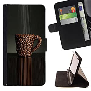 BullDog Case - FOR/Samsung Galaxy S4 IV I9500 / - / coffee cafe black caffeine bean brown /- Monedero de cuero de la PU Llevar cubierta de la caja con el ID Credit Card Slots Flip funda de cuer
