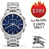 Burberry The City Luxury Unisex Men Women 42mm Round Stainless Steel Chronograph Watch Stainless Steel Band Blue Date Dial BU9363 -  BURBERRYS