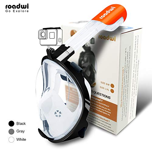 roadwi Snorkel Mask Full Face 180 Degree Visibility with Action Camera Mount and Travel Bag, Adjustable Belt Comfortable and Anti-Leak Scuba Masks for Adults and Kids(Black,L/XL>12cm)
