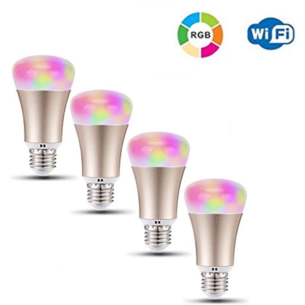 CLDGF 4 Pack Wifi Glühbirne E27 Smart Stufenlos Dimmen RGB Lampe Lampe App Steuerung Alexa Stimmglocke Kompatibel mit Amazon Alexa, Google Assistent, Ios Homekit (Gold)
