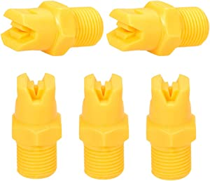 uxcell Flat Fan Spray Tip, 1/8BSPT Male Thread PP Nozzle, 5 Pcs (110 Degree, 1.1mm Orifice Diameter)