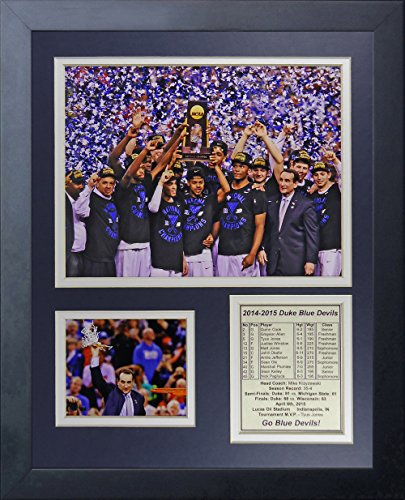 "NCAA Duke Blue Devils 2015 Basketball National Champions Legends Never Die Celebration Framed Photo Collage, 11"" x 14"", Black"