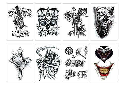 Spestyle 8pcs/package Halloween Temporary Tattoo, Waterproof Skull Devil Gun Cross Rose Tattoos Stickers for Party Favors