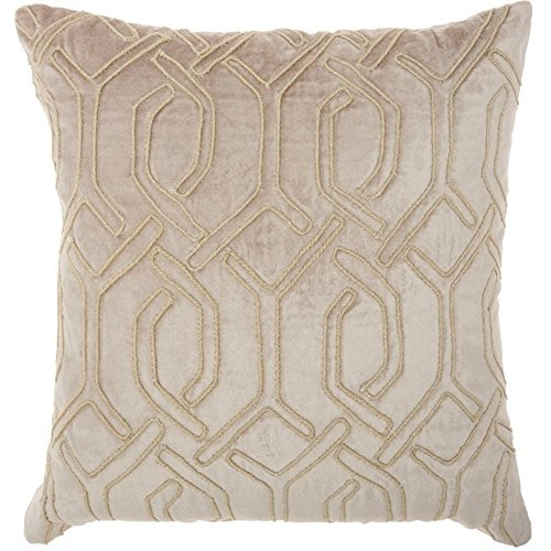ON 1 Piece 18 x 18 Beige Geometric Throw Pillow, Elegant Rhinestone Bead Embroidered Interlock Pattern Contemporary Modern Graphic Print Couch Decor Cushions Seat Pillows Zipper Closure, Velvet (Interlock Embroidered)