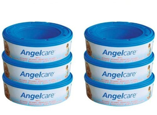 6 X Angelcare Nappy Disposal System Refill Cassettes Wrappers Bags Sacks Pack Special Gift Fast Shipping and Ship Worldwide by Angelcare