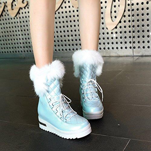 YE Damen Keilabsatz Ankle Boots Gefütterte Stiefeletten mit Fell Schnürsenkel und Erhöhung Bequem Warm Schuhe Blue