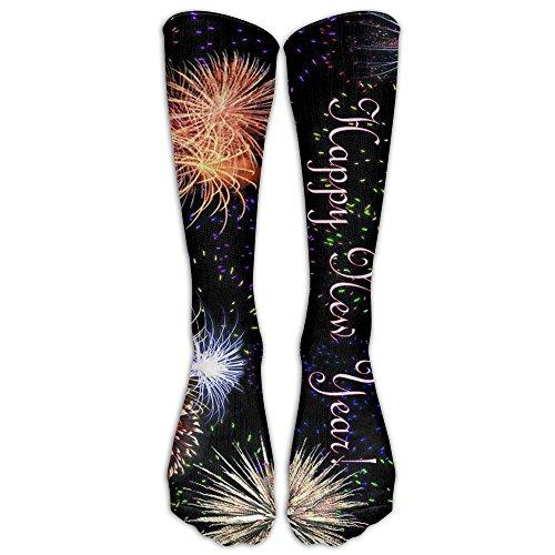 BsadJasda Firework Happy New Year Printed Men's/Women's Comfortable Casual Funny Long Knee High Socks Compression Socks Winter Warm Soccer Socks ()