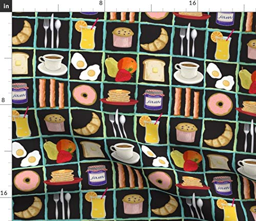 (Spoonflower Food Fabric - Whimsical Breakfast Pancakes Fruit Coffee Kitchen Decor by Littlerhodydesign Printed on Performance Piqué Fabric by The Yard)