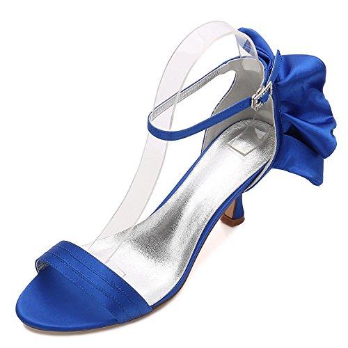 L@YC Zapatos de Boda de Las Mujeres 17061-8 Office Bridesmaid Low Heel Ribbon Summer Prom (Hecho a Medida) Blue