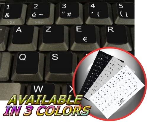 14X14 French Belgian Keyboard Labels ON Transparent Background with Yellow Lettering