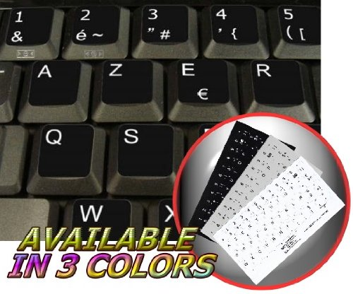 FRENCH AZERTY NON-TRANSPARENT KEYBOARD STICKER FOR LAPTOP, DESKTOP WITH WHITE LETTERING AND BLACK BACKGROUND - French Keyboard Stickers