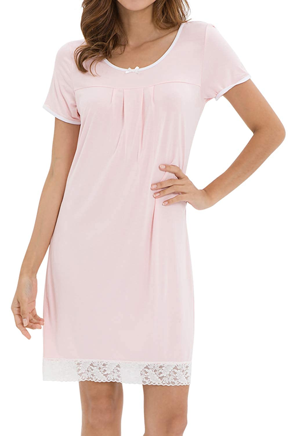 Pink WiWi Bamboo Lace Nightgowns Short Sleeve Nightshirts for Women