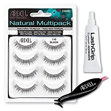 d109ba34299 Amazon.com : Ardell Fake Eyelashes Value Pack - Natural Multipack 110  (Black), LashGrip Strip Adhesive, Dual Lash Applicator - Everything You  Need For ...