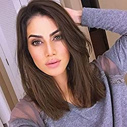 Imstyle Lace Front Wigs Bob With Brown Color Short Bob Wigs Lace Front Natural Straight Synthetic Hair For White Women Shoulder Length