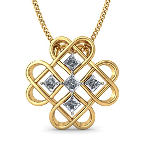 14 K Or jaune 0,34 CT TW Princess-cut-diamond (IJ | SI) Pendentif