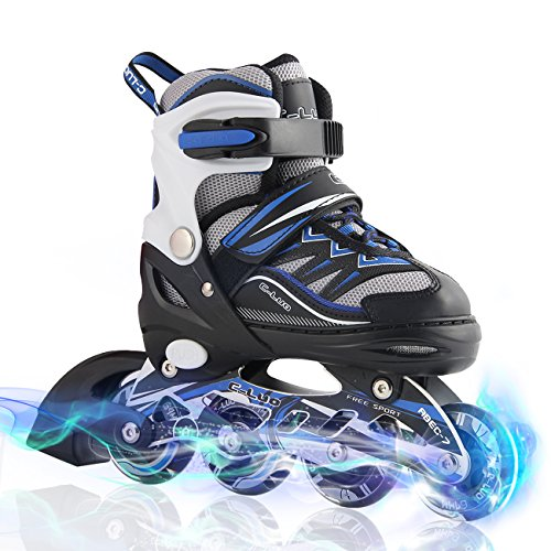 Kuxuan Boy's Ciro Adjustable Kids Inline Skate with Light up Wheels Blue (Skates That Light Up)