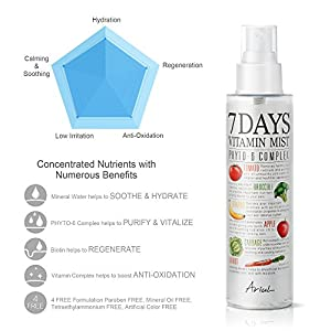Ariul Natural Facial Face Mist 7 Days Vitamin Mist 5.07 fl. oz. Green Graded Nutrients Toner Moisturizing Spray - Biotin, Niacinamide, Riboflavin, Ascorbic Acid, Butylene Glycol, Cyanocobalamin