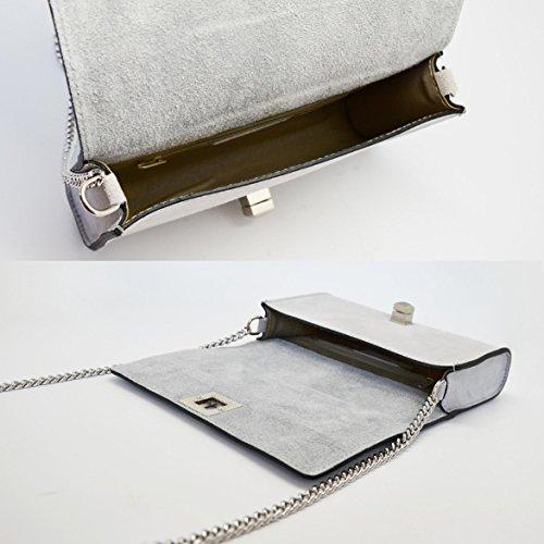 en ronde sac cuir lisse gris bandoulière soirée nickel matelassé CLUTCH et Sac avec de DIONISIA chaîne à foncé fermeture 6XxXwv