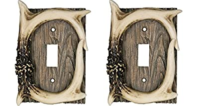 Rivers Edge Products Deer Antler Single Switch Electrical Cover Plate CVR (Pack of 2)