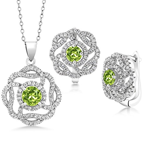 Peridot 925 Sterling Silver Pendant Earrings Set (Peridot Pendant Set)