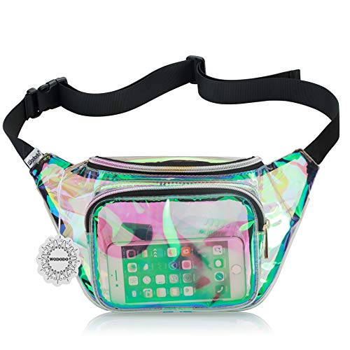Shiny Neon Fanny Bag for Women Rave Festival Hologram Bum Travel Waist Pack (Clear Iridescent) -