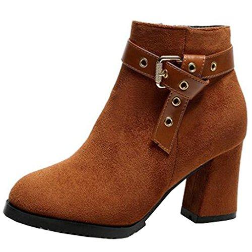 Buckle Round Brown Heel Women's Boots Toe Ankle Block Binying Zip wxqUHZ55