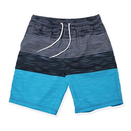 GWELL Herren Streifen Wasserdicht Badeshorts Beachshorts Boardshorts Badehose Sommer Strand blau L