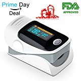 Pulse Oximeter - FDA Approved Premium Blood Oxygen Fingertip Instant Read Digital Sensor Monitor Color OLED Display with batteries and lanyard