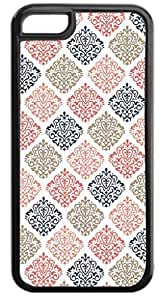 06 4.7-Colorful Damasks Pattern- Case for the APPLE iPhone 6 4.7-Hard Black Plastic Outer Case with Tough Black Rubber Lining