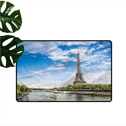 HOMEDD Crystal Velvet Doormat,Eiffel Tower Seine River Holiday,Super Absorbs Mud,24
