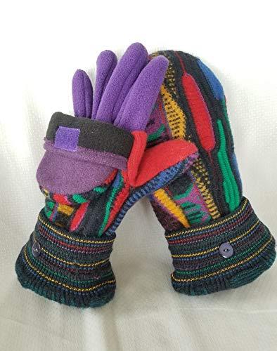Coogi Glittens! Recycled Felted Wool Sweater, convertible mittens, fleece gloves, flip hood, buttons, black, red, purple green, medium