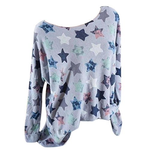 (Women Plus Size Blouse MITIYFive-Pointed Star Long SleevePullover Tops Shirt)