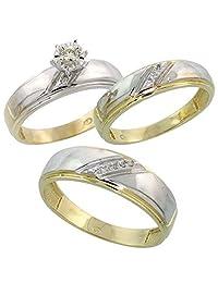 Silvernshine Jewels 14k Gold Fn Sterling Silver Sim.Diamond His & Hers Trio Engagement Wedding Ring Set