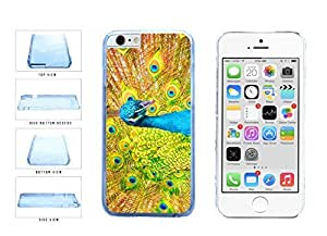 Bright Colored Peacock Feathers Clear Plastic Phone Case Back Cover Apple iphone 5 5s ( es screen) includes fashion case Cloth and Warranty Label