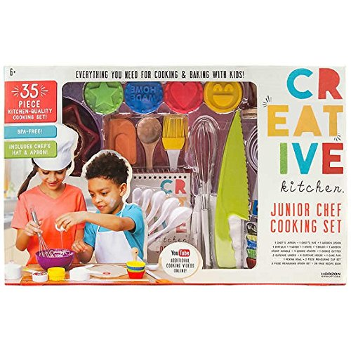 Junior Chef 35-Piece Dishwasher Safe Kitchen-Quality Child Safe Cooking Accessory Set Includes Apron, Hat, Wooden Spoon, Bakeware, Knife and Recipe Book by Creative Kitchen Kids Kitchen Tools