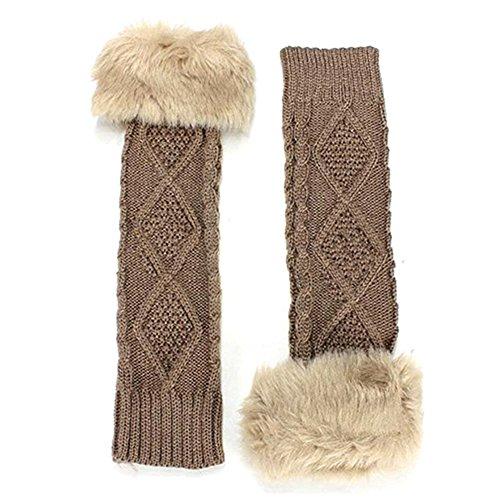 Womens Winter Stretch Faux Fur Knit Wool Arm Warmers Long Fingerless Gloves