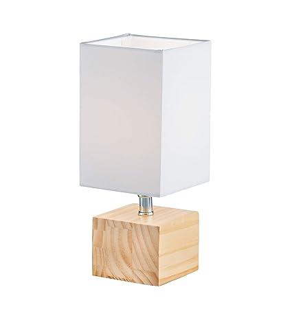 WOFI Lámpara de mesa E14, 40 W, madera, 11 x 11 x 26.5 cm ...
