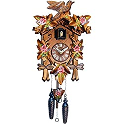 Alexander Taron Importer Black Forest Carved Cuckoo Clock with Red Flowers