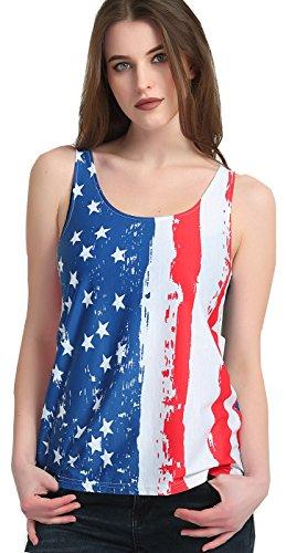 ALAPUSA Women's Patriotic American Flag Camisole Tank Top