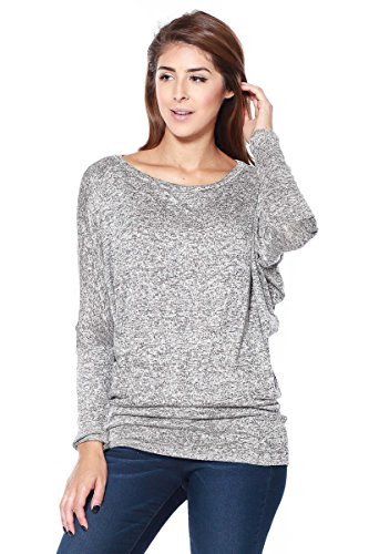 Hand Knit Cropped (A+D Womens Two Tone Sweater Knit Blouse Top w/ Dolman Slv (Grey/Black,)